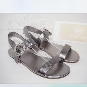 Michael Kors Flats Sandals Pewter Silver